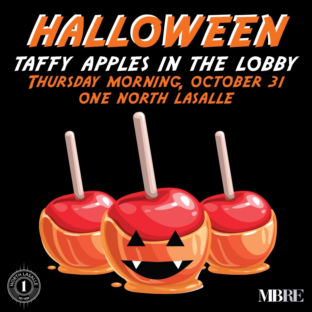 TOMORROW! Make sure to grab a candy apple tomorrow at 8:30 a.m. in the lobby! Happy Halloween Eve! #halloween #fall #apple #mbremamaged #onelasalle