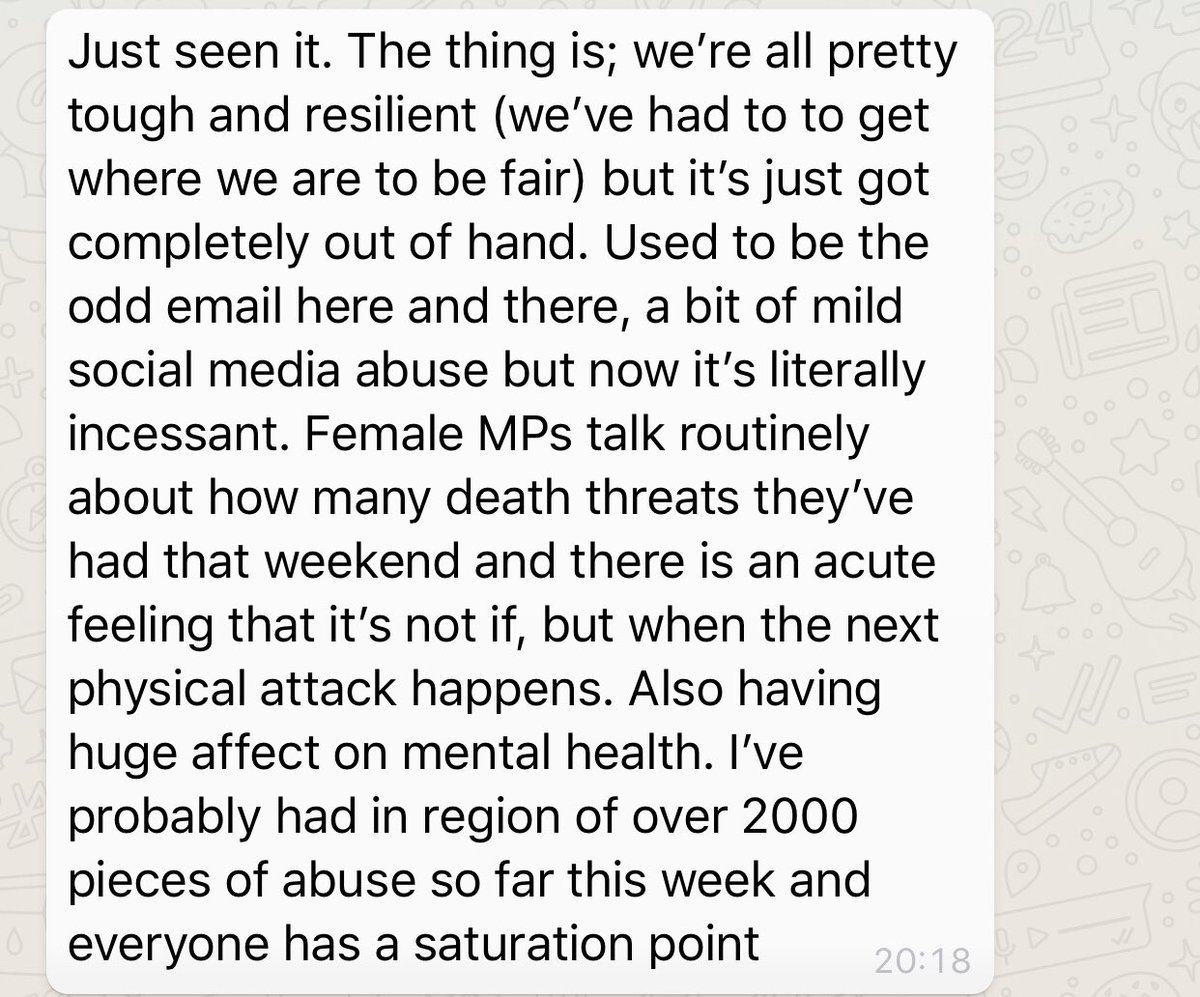 The MP in question has just sent me this message. Read in her own words just how overwhelming the abuse has become. 2000 abusive messages this week alone.