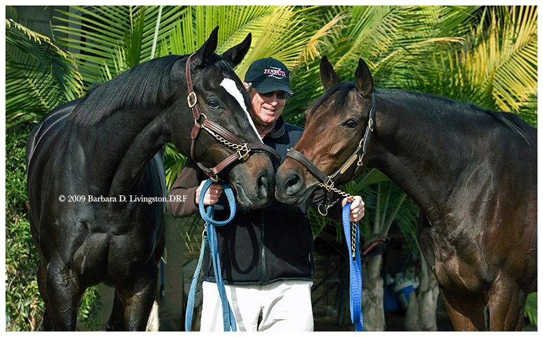 I flew cross-country for this shoot, it felt/feels that important. ZENYATTA and LIFE IS SWEET, with trainer John Shirreffs in Dec. 2009 at Hollywood Park. The month earlier, ZENYATTA won the @BreedersCup Classic and her stablemate the @BreedersCup Ladies Classic (Distaff).