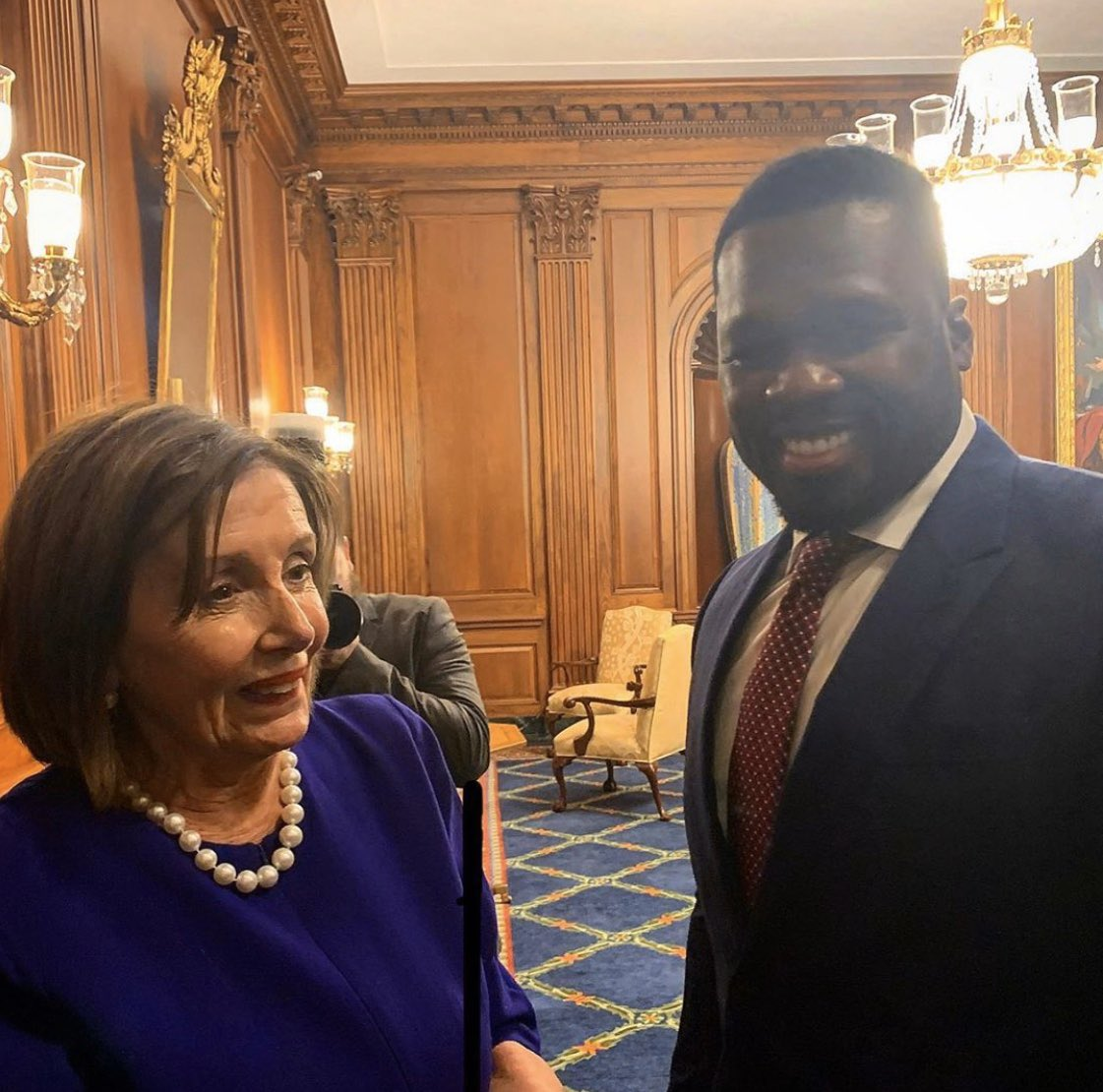 50 Cent spotted on Capitol Hill with Nancy Pelosi & Dem lawmakers