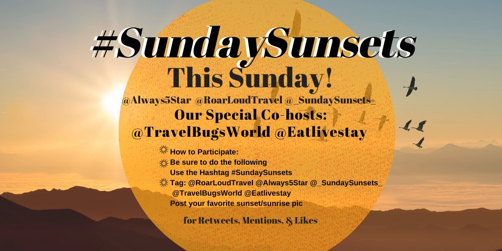 Gather your #sunset photos cuz #SundaySunsets chat is THIS Sunday, Nov 3rd! @RoarLoudTravel & I are excited for @TravelBugsWorld & @eatlivestay to co-host! Read here for more info on how to participate ▶bit.ly/SundaySunsets 🌅#WanderlustWednesday #travelphotography #travel