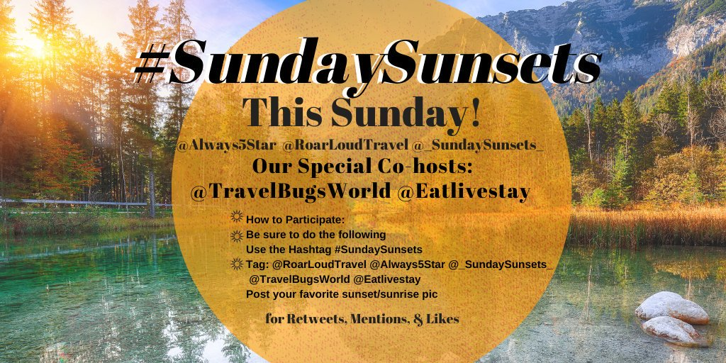 This Sunday, Nov. 3rd is the next #SundaySunsets chat! Woo hoo! @RoarLoudTravel & I ❤ that we have @TravelBugsWorld & @eatlivestay as our co-hosts! Not sure how to participate? Read here ▶bit.ly/SundaySunsets 🌟🌟🌟🌟🌟 #ThrowbackThursday #ThursdayThoughts #TBT #travel