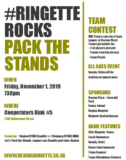 PACK THE STANDS this Friday 7:30pm to watch RRA U19AA Bandits vs Winnipeg BVRA U19AA!!!! You do not want to miss this FEATURE GAME#ringetterocks #fastestgameonice #BanditsPursuitforNationalspic.twitter.com/BLnd9AlTdC