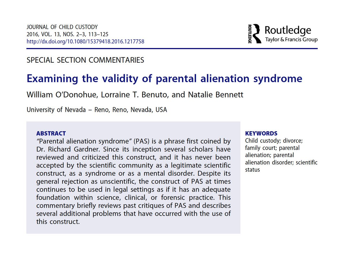 'Parental alienation syndrome': Popular among MRAs & fathers' rights groups, and a common weapon of abusers in family law. But rejected by the medical community, criticised by scholars as junk science, and never validated by empirical research. Full text: xyonline.net/sites/xyonline…