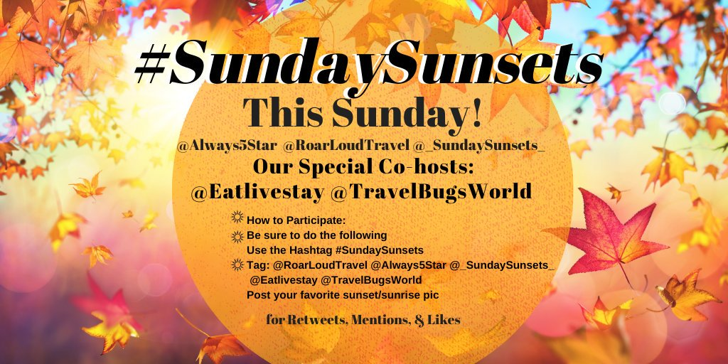 Join us this Sunday for the most beautiful chat on Twitter - #SundaySunsets 💛🌅 @always5star @_sundaysunsets_ and I will be joined by co-hosts @TravelBugsWorld and @eatlivestay! Share your sunset or sunrise photos with us all day and night 🌅 #sunset #photography
