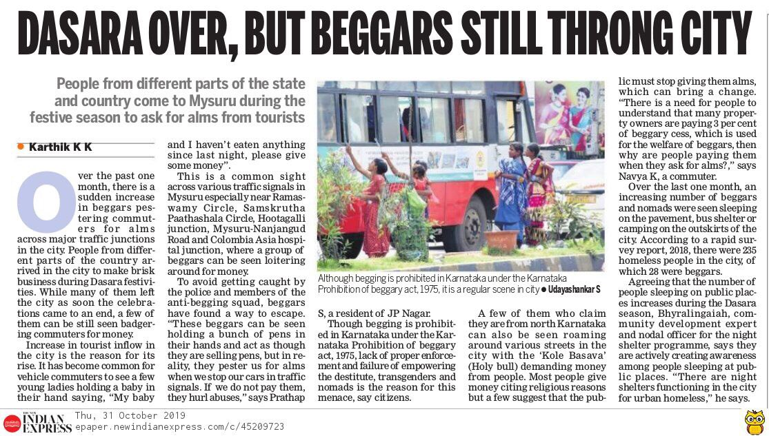 #MysuruDasara over, but beggars still throng city. Over the past one month, there is increase in beggars pestering commuters for alms across major traffic junctions in #Mysuru. @XpressBengaluru #Mysorepic.twitter.com/hO7NyKcorQ