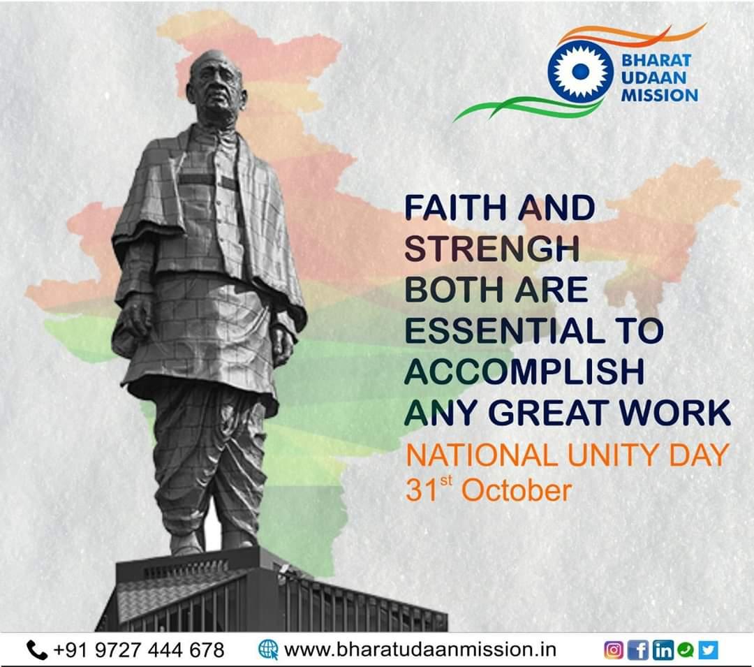 National Unity Day A Salute To The Iron Man Of India  Sardar Vallabh Bhai Patel  #StatueOfUnity #SardarVallabhbhaipatel #RashtriyaEktaDiwas #SardarPatelStatue #RunForUnity #sardarpateljayanti #gujrat #vibrantgujrat2019 #VG2019 #bharar_udaan_missionpic.twitter.com/6nFASkpM1u