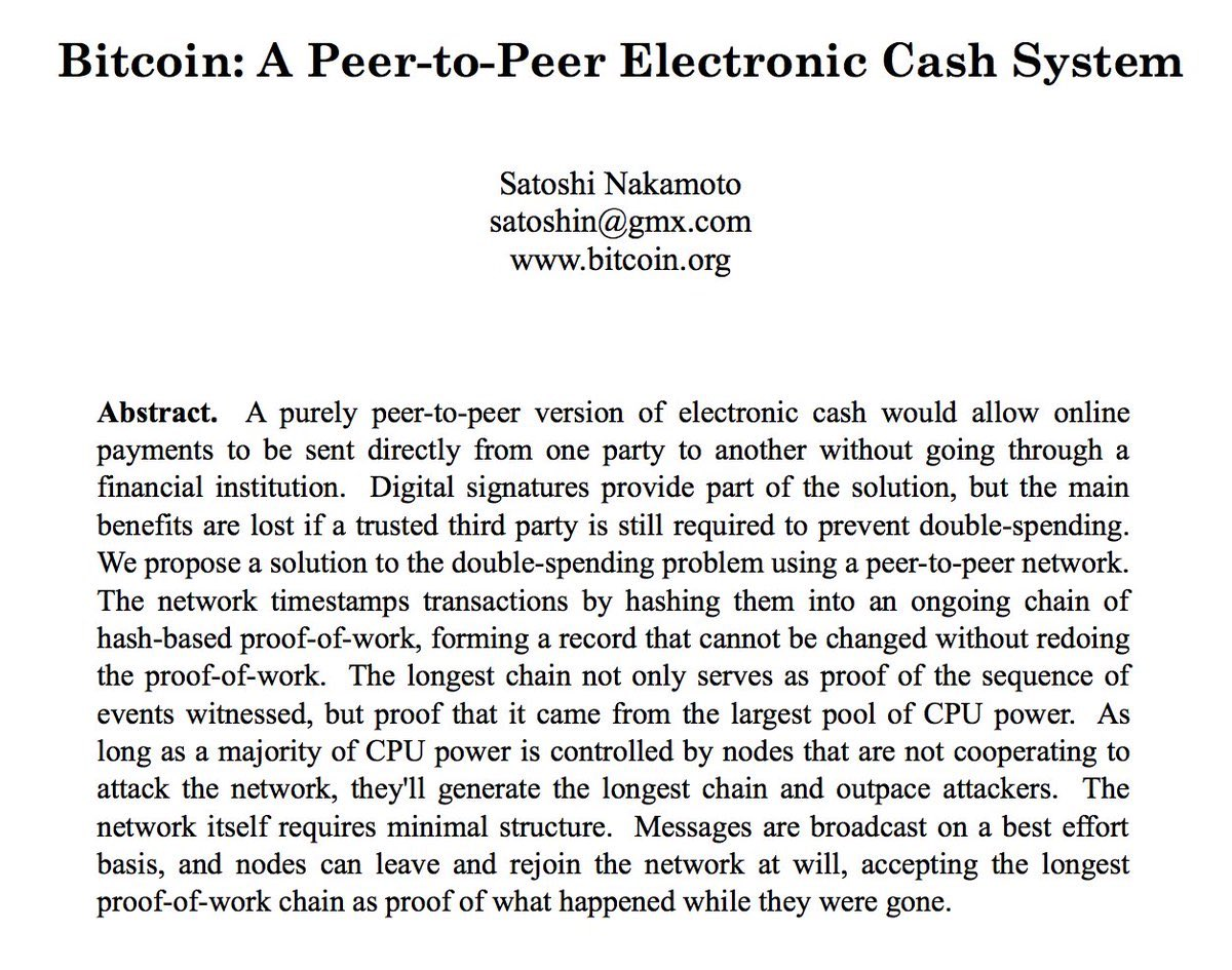 Exactly 11 years ago, on 31 October 2008, Satoshi Nakamoto published the #Bitcoin Whitepaper. Happy Anniversary $BTC! bitcoin.org/en/bitcoin-pap…