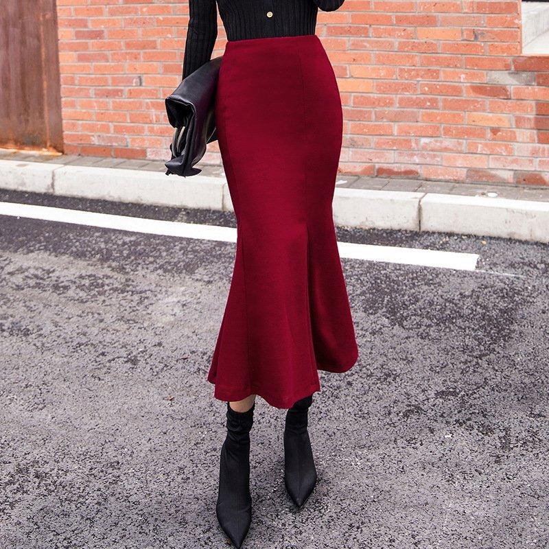 abclosetレディースファッションボトムス美シルエット無地ハイウエストラシャフィッシュテール秋冬スカート  #スカート #abcloset  #美シルエット