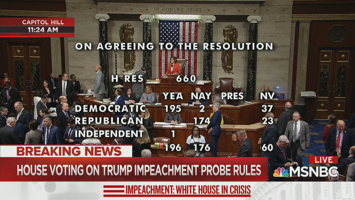 NOW: Members of the U.S. House of Representatives are voting on procedures establishing rules for the potential impeachment of Donald Trump. @AriMelber anchors special coverage on @MSNBC