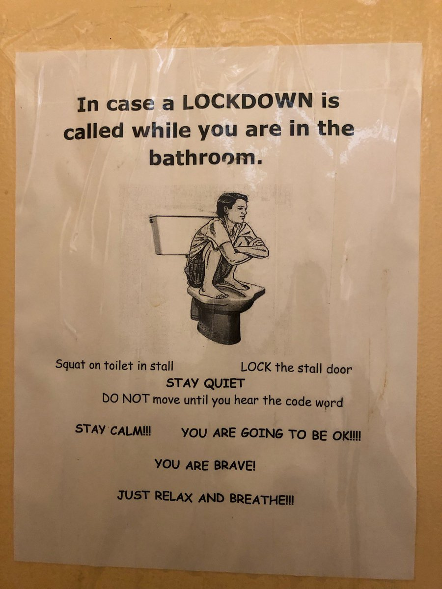 No words!!!  This is hanging in a school bathroom.  Why?  Because America has chosen to traumatize our children over dealing with the reality of gun violence.  My daughter died in school.  I am thankful she was never traumatized by this when she was alive.  Pass gun safety.