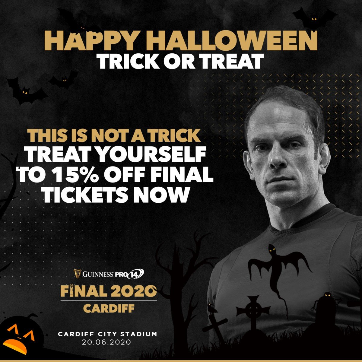🎃 Happy Halloween 🎃 This isn't a trick! 🎩 👻 Treat yourself to 15% off Final tickets here 👉 pro14rugby.org/final/ #GuinnessPRO14 #halloween2019