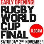 Image for the Tweet beginning: Rugby World Cup Final Early