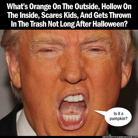 What's orange on the outside, hollow on the inside, scares kids, and gets thrown in the trash not long after Halloween?