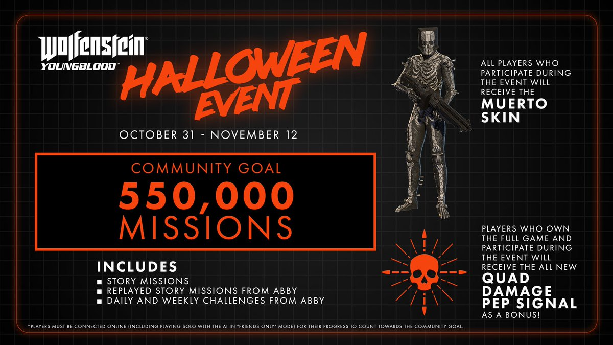 Earn treats this Halloween by playing tricks on Nazis! (The trick is that youve killed them dead.) Complete missions and challenges as a community and earn the Muerto skin, and the bonus Quad Damage pep signal if you own the full game!