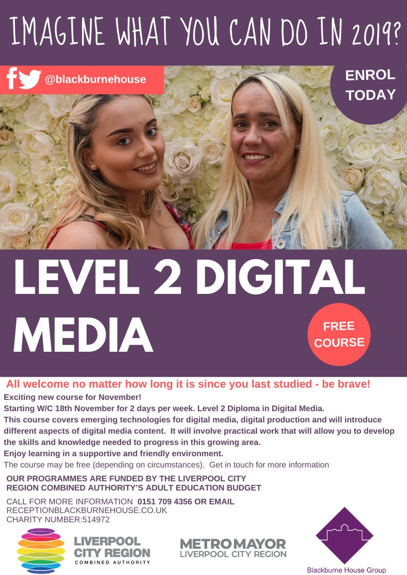 Exciting new course for November! Starting W/C 18th November for 2 days per week. Level 2 Diploma in Digital Media. This course covers emerging technologies for digital media, digital production and will introduce different aspects of digital media content.