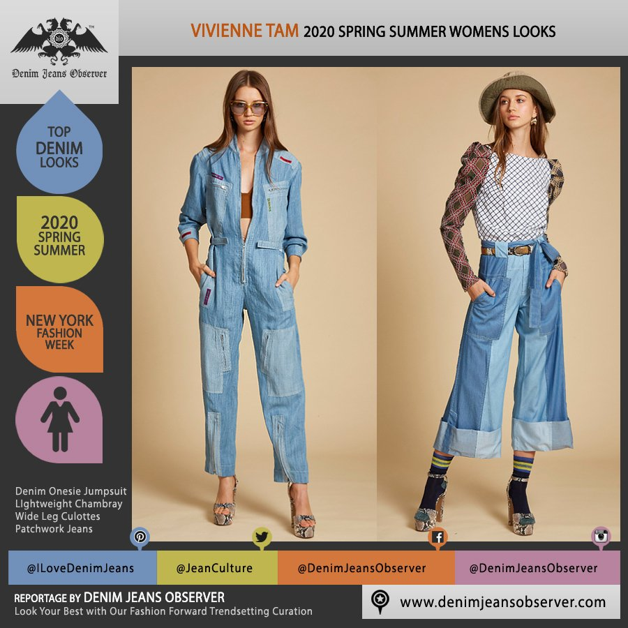 Vivienne Tam 2020 Spring Summer Womens Lookbook Presentation - New York Fashion Week NYFW - Denim Jeans Onesie Jumpsuit Boiler Flight Aviator Suit Coveralls Culottes Wide Leg Patchwork Poufy Shoulders Check Bucket Hat - Fashion Forward Trendsetting Curation by Denim Jeans Observer