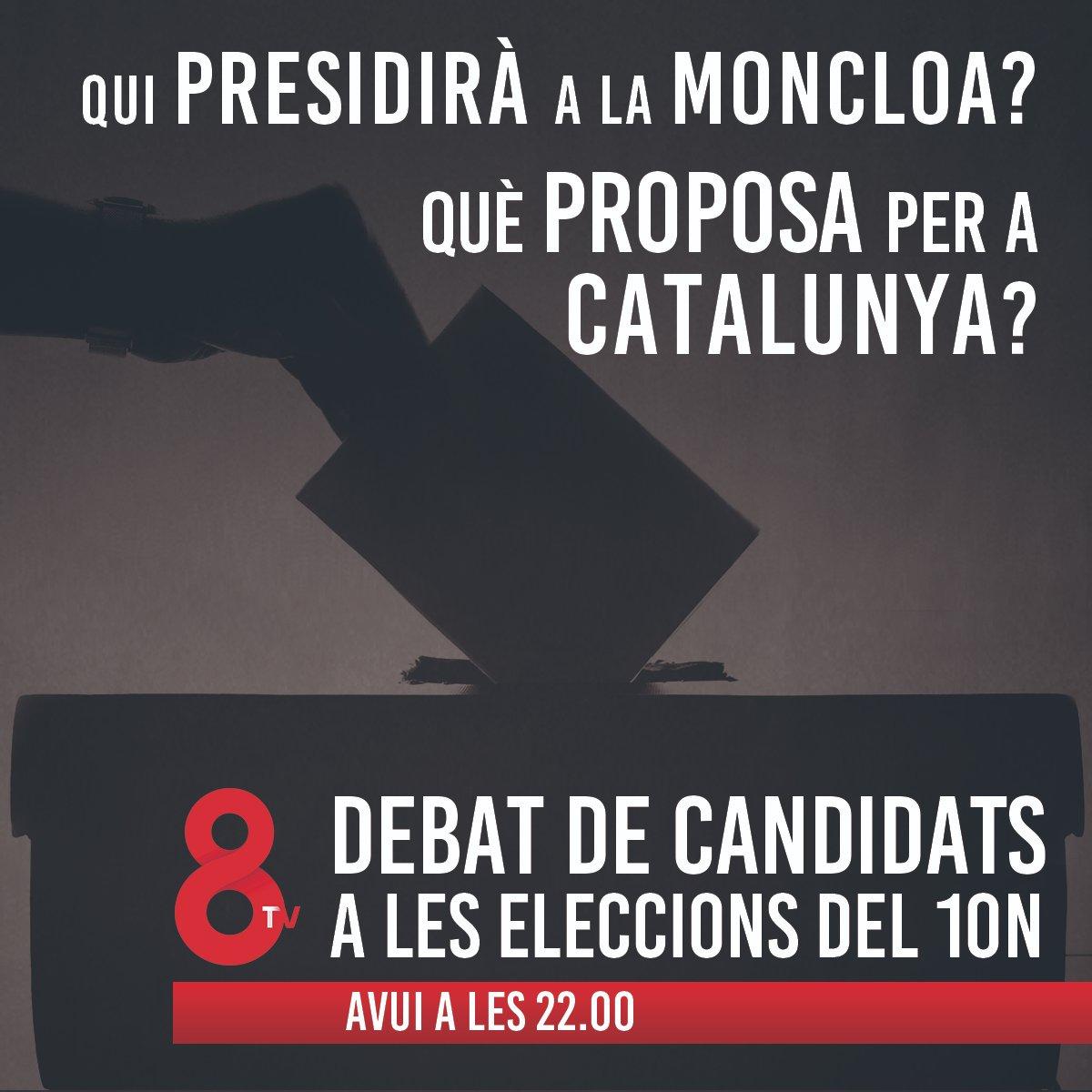 🗣️ La nit que comença la campanya de les eleccions del #10N🗳️ el debat de @BCNTribuna s'emet a @8tvcat.   Com valoren la situació actual? Què proposen per a Catalunya? Els candidats de les Generals per #Barcelona avui, a les 22.00h. https://t.co/Doa4cdpBiC