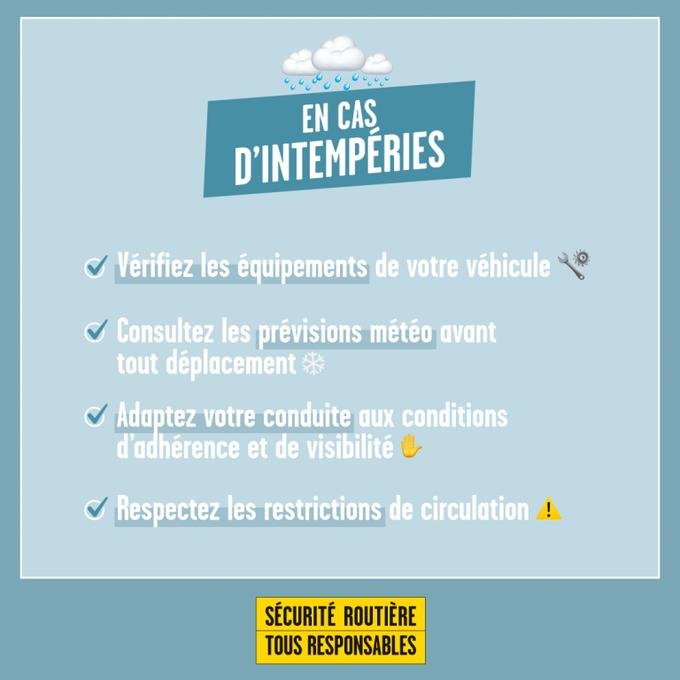 EN CAS D'INTEMPÉRIES - SÉCURITÉ ROUTIÈRE TOUS RESPONSABLES