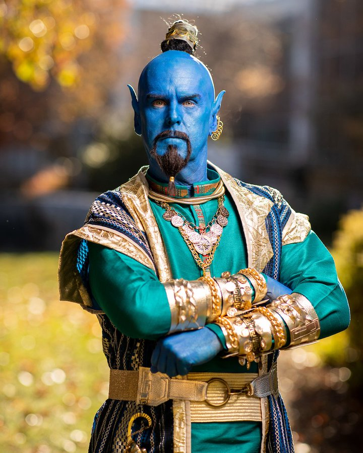 Tom Holmoe dressed up as the Genie from Aladdin.