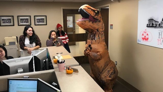 Just your average, dino-mite day in @BMCimRES administrative offices... 🦖 #Halloween #trickortreat cc @DrYadavalli @J_SchneiderMD