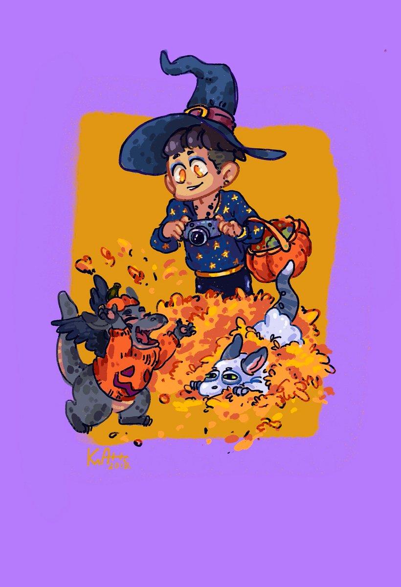 Покопаться в листьях веселое занятие ! А Магнусу только и остаётся что вовремя камерой щёлкать компромат#Malec #Malecau #Halloween19pic.twitter.com/n6Gf3Me3Il