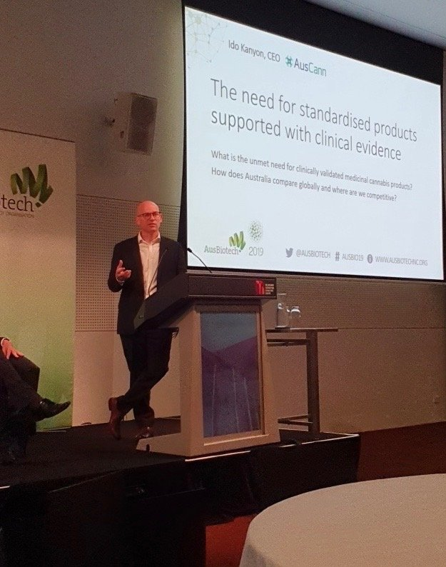 AusCann CEO Ido Kanyon presenting on a panel this morning at @AusBiotech in Melbourne on the new developments in the Australian medicinal cannabis sector #ausbio19