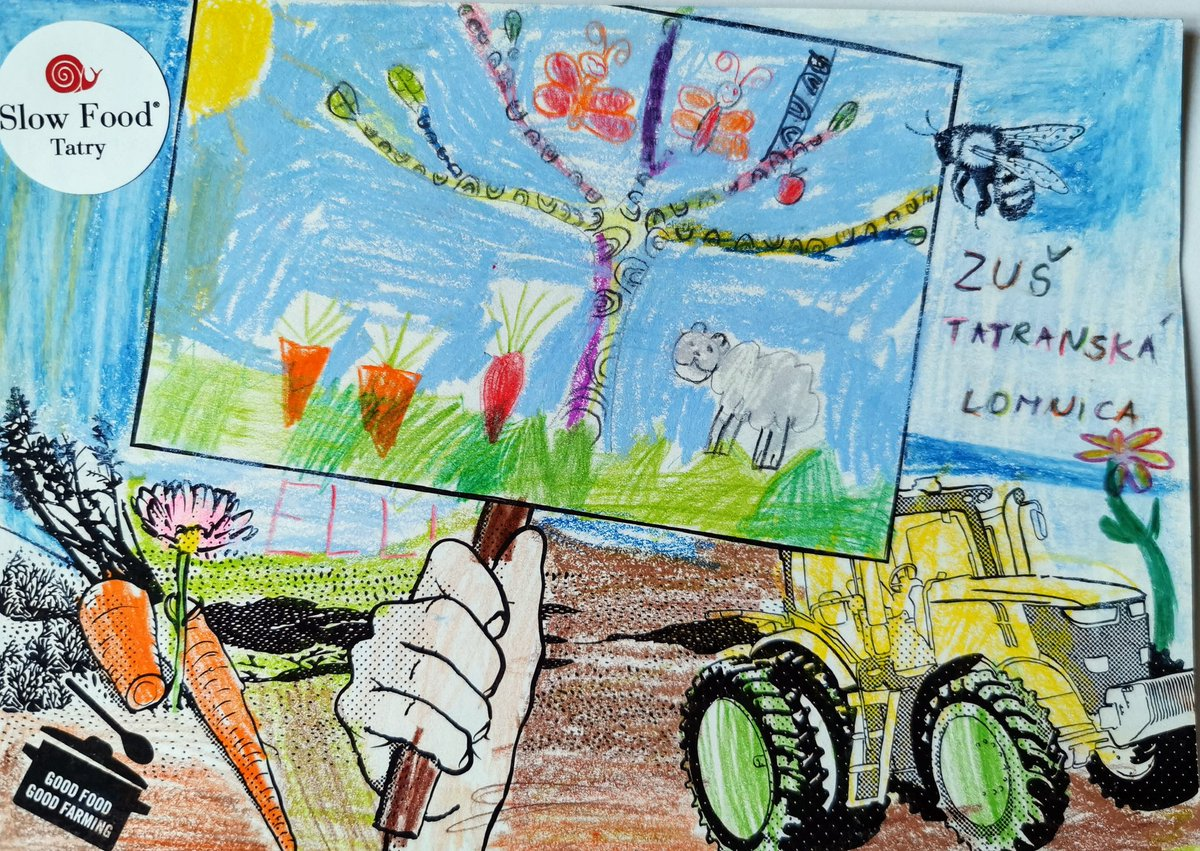 How beautiful demonstration views on the postcards created by 5-6 years old children from art school in #Tatranska Lomnica, Slovakia have joined the #GoodFoodGoodFarming Days for Good, Clean and Fair Food! @GFGFActionDays #SlowfoodTatry #Slovakia