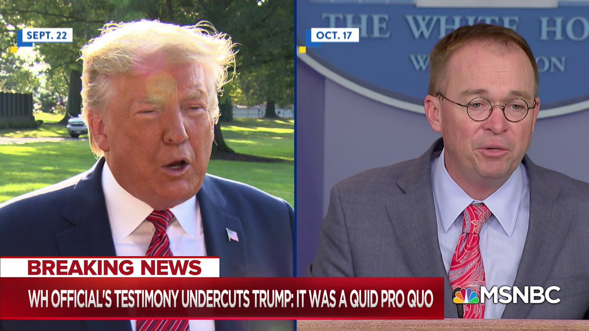 WATCH: Tim Morrison joins a long list of witnesses who said Trump sought a quid pro quo, including Trumps top aide Mick Mulvaney, who admitted to the bribery plot on live TV.