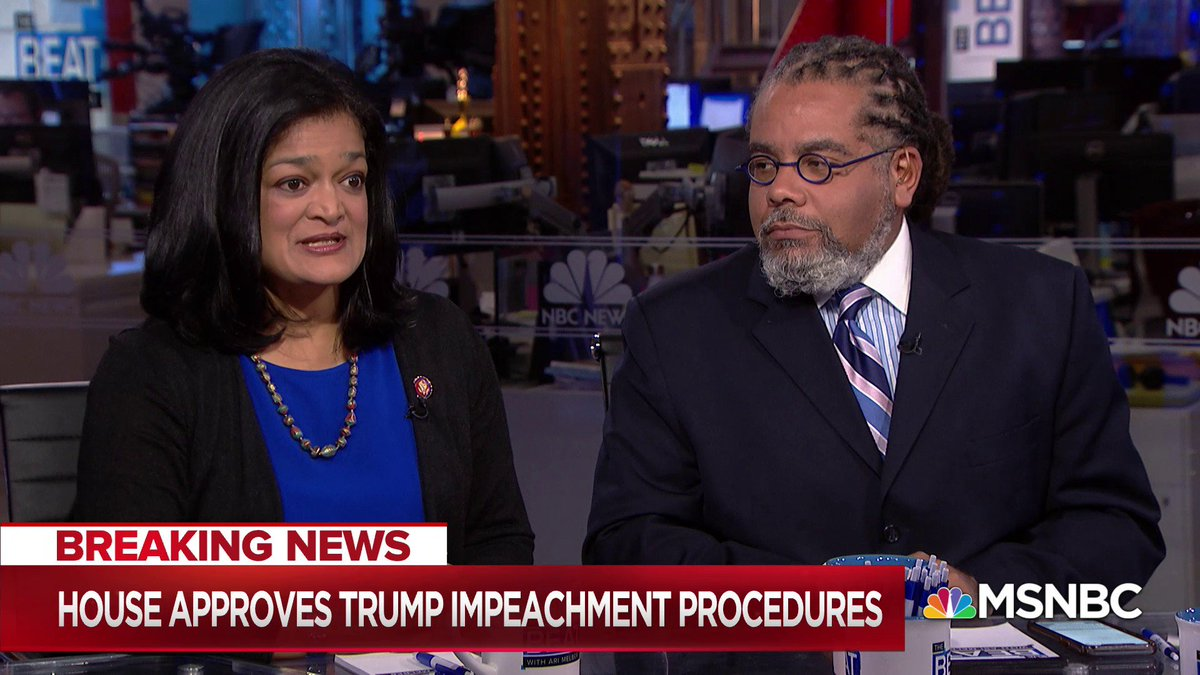 Judiciary Committee Member @RepJayapal on todays historic House vote on impeachment proceedings: It was a really sad day that we are at this point, where we had to cast a vote about an inquiry into presidential abuse of power.
