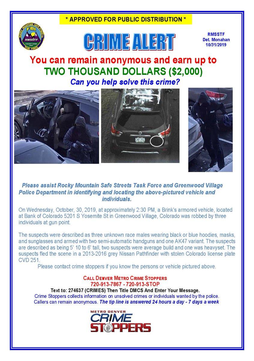 Authorities hunt for 3 in armored truck heist in Denver area