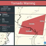 Image for the Tweet beginning: Tornado Warning continues for Cofield