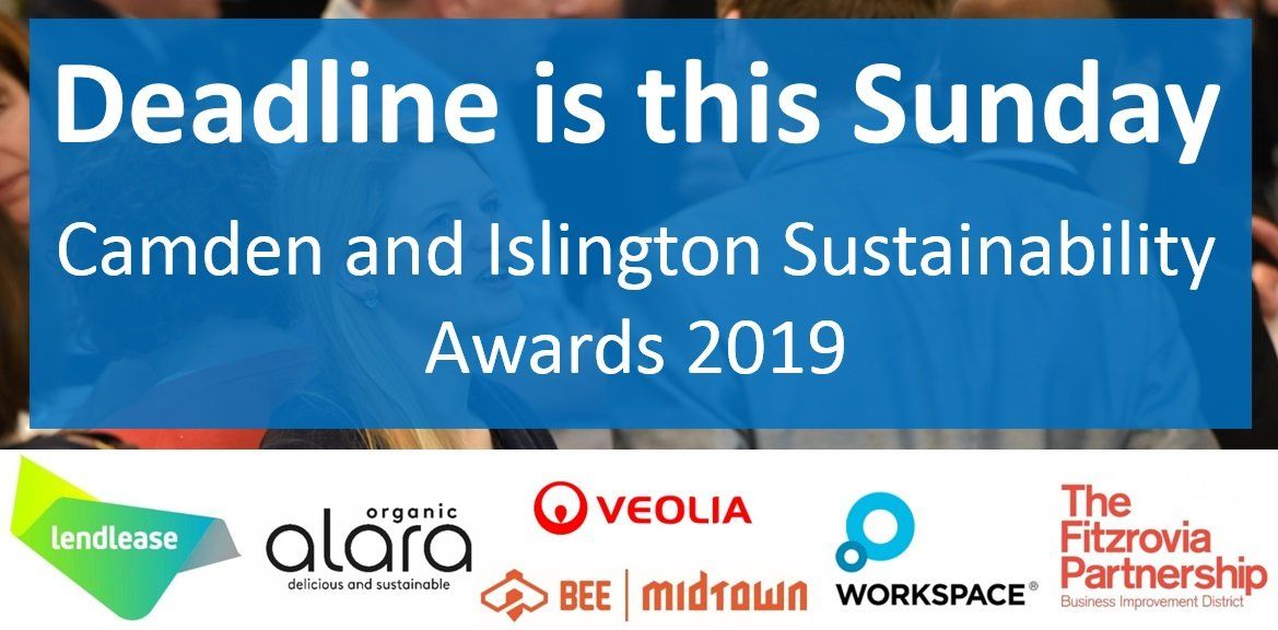 You have until midnight on Sunday (03 Nov) to put your sustainability initiative forward and share what you are doing to deliver more sustainable products and services. Enter NOW https://t.co/UfauJ6fXcf @HattonGDN @EustonTown @kingscrossN1C https://t.co/I7welH9LNK