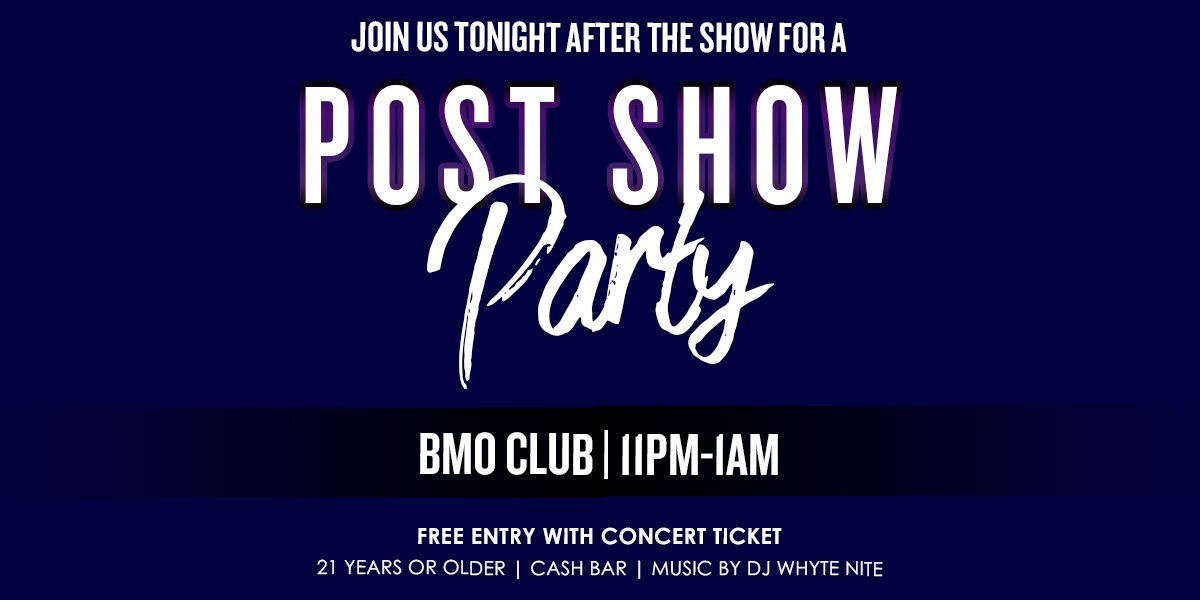 Join us for an after party for @BANDA_MS TONIGHT!! Free entry with your ticket along with a cash bar! Great tickets are still available for the show: ow.ly/P6MJ50wYWeJ