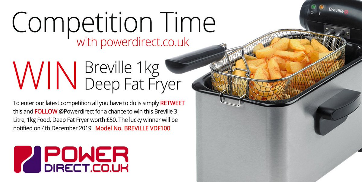 #Free to Enter @PowerDirectUK #Competition #Giveaway... Simply #RT and #Follow for a chance to #Win a Breville 3 Litre Professional Deep Fat Fryer… #FreebieFriday #FridayMotivation #FridayFeeling