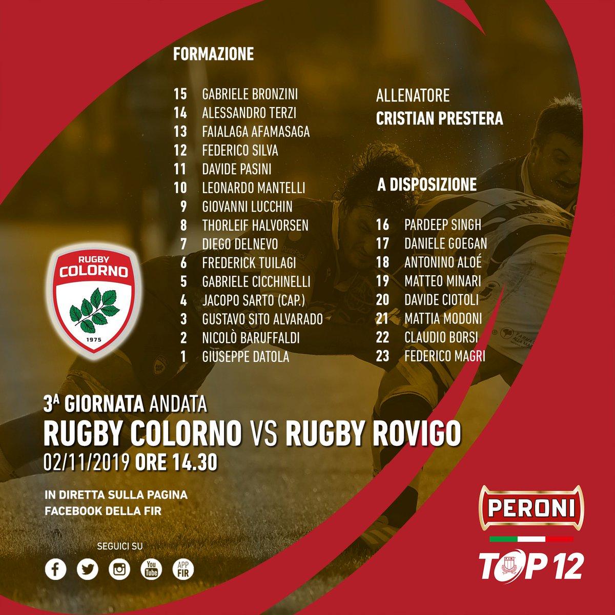 🔴 #PeroniTOP12, il XV del @RugbyColorno per la sfida con il @RugbyRovigoDelt ➡ tinyurl.com/yy87nyb2 #rugbypassioneitaliana