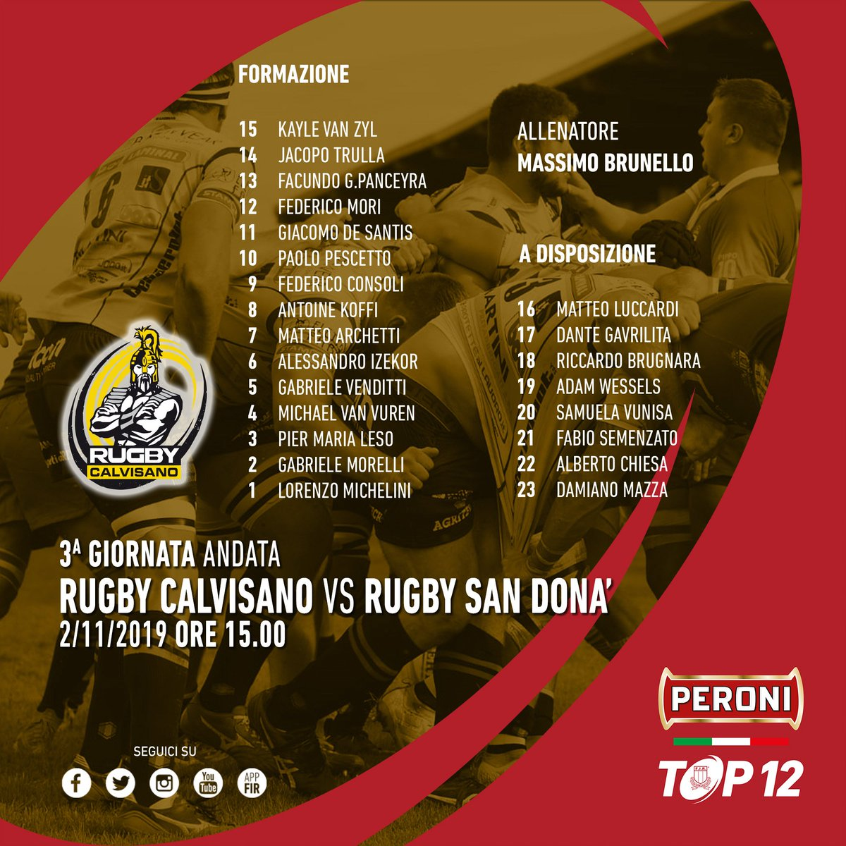 🔴 #PeroniTOP12, il @RugbyCalvisano schiera 4 new millennials contro il @rugbysandona ➡ tinyurl.com/y4hnasr8 #CALvSDN #rugbypassioneitaliana
