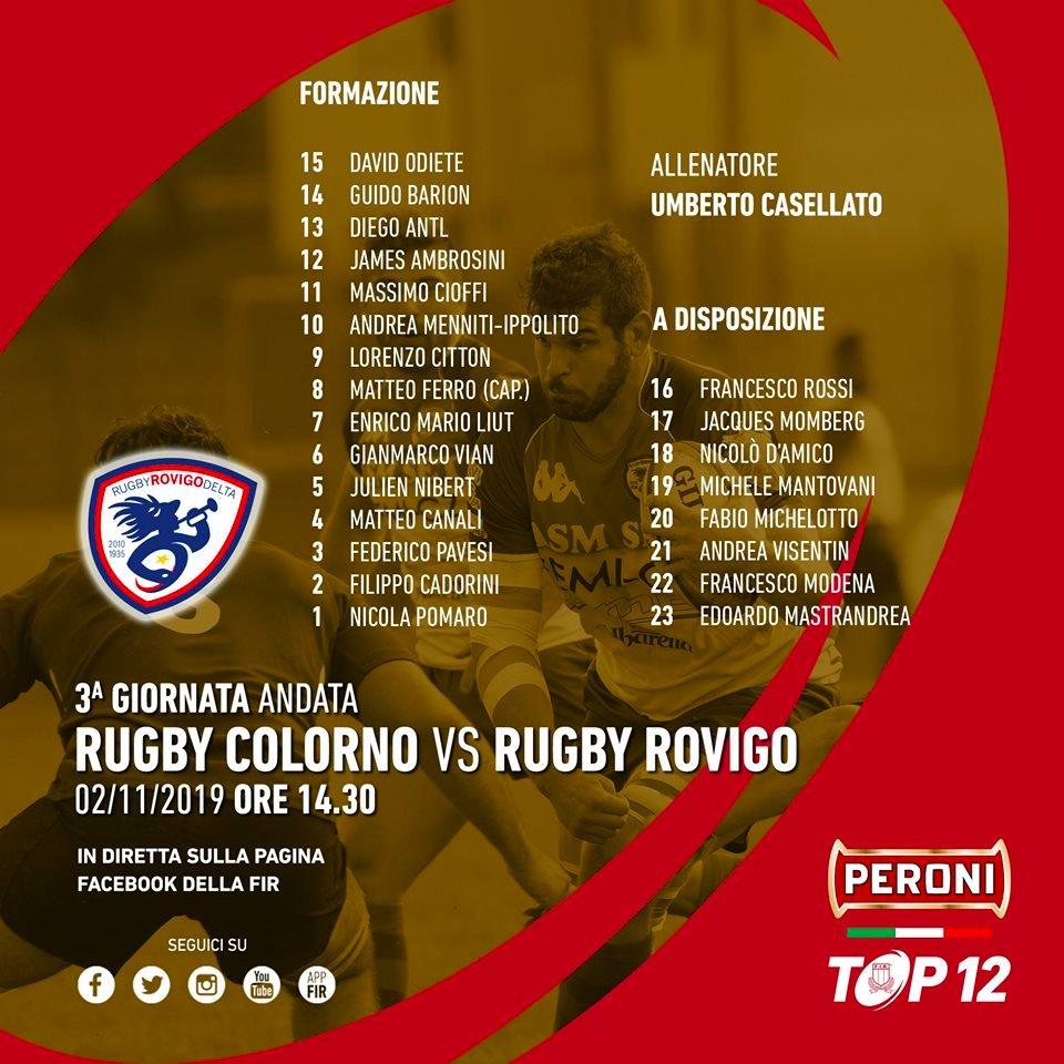 🔴#PeroniTOP12, la formazione del @RugbyRovigoDelt per la trasferta in casa del @RugbyColorno ➡ tinyurl.com/yygvwv9t #COLvROV #rugbypassioneitaliana