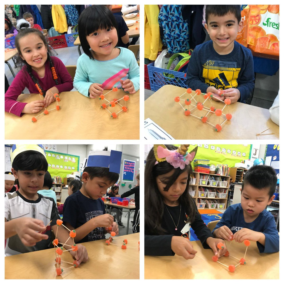 Ps41q On Twitter Kindergarten Studying How To Make Strong Structures Using A Triangle Shape To Support Stabilize And Stiffen Can You Build A Candy Pumpkin Tower And Spider Web Bridge Halloween Stem D26team