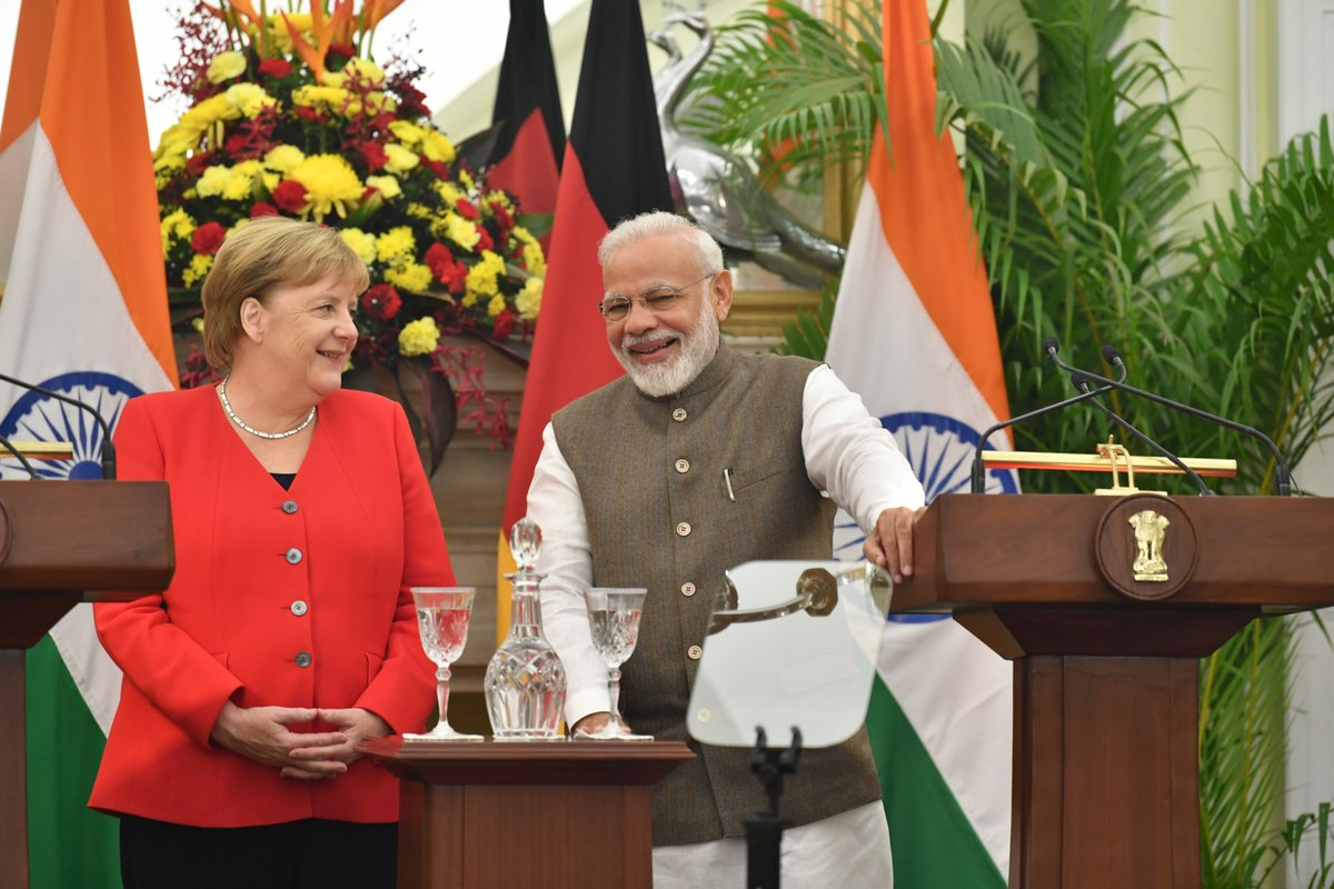 India and Germany can work together in areas like artificial intelligence, skills, education and more. We welcome German cooperation in our plans for smart cities, e-moblility and harnessing water resources. 2 Defence corridors also bring many opportunities for German companies.
