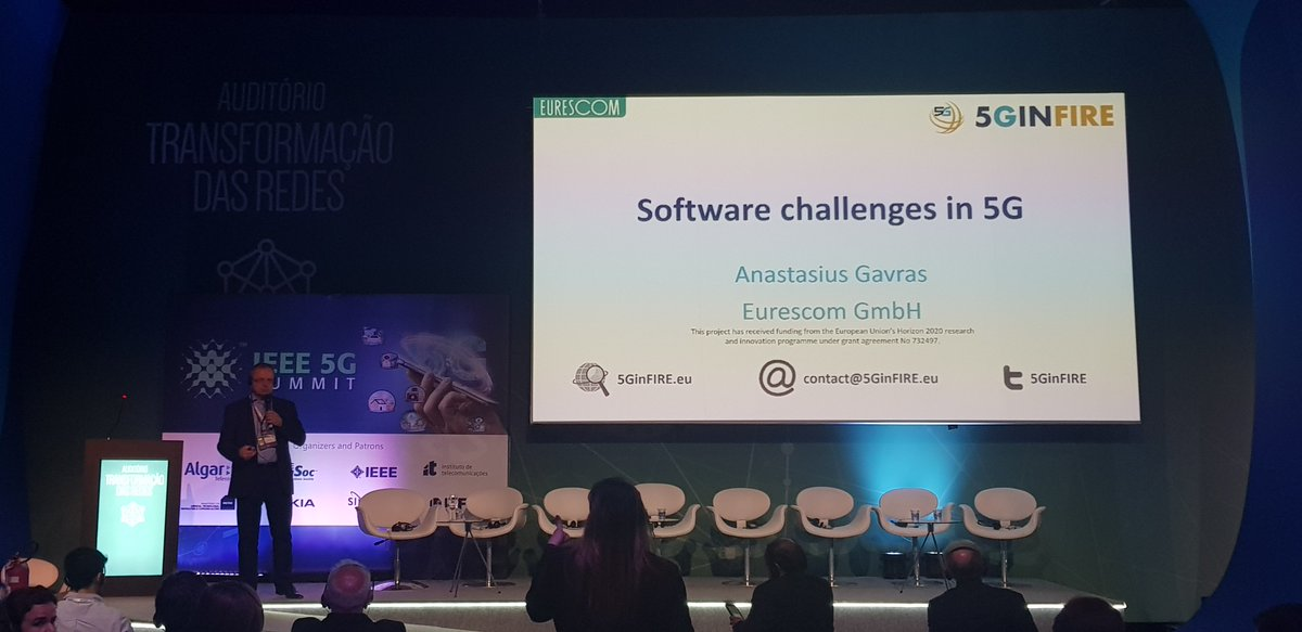 Anastasius Gavras presents Software challenges in #5G and how results are reused in #5gvinni during #5gsummit #Futurecom2019 in São Paulo