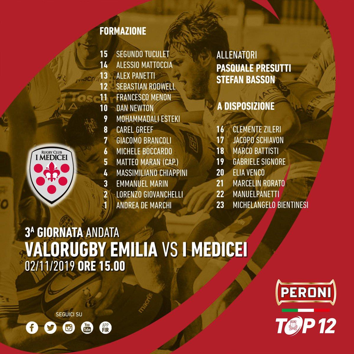 🔴 #PeroniTOP12: @IMedicei in campo domani per cercare la prima vittoria stagionale con il #Valorugby ➡️ tinyurl.com/yya3duk8 #VREvMED #rugbypassioneitaliana