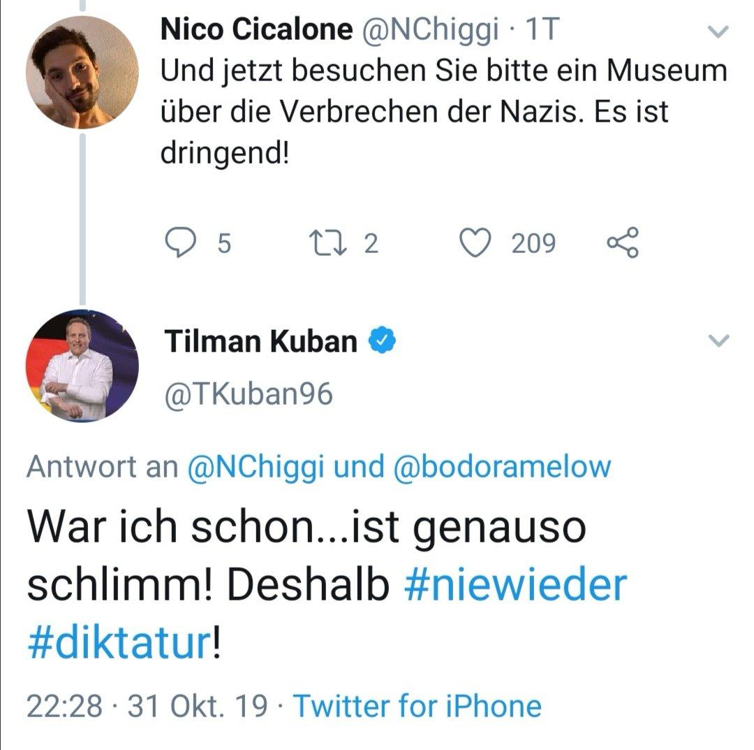 Und findet seinen Ausfall auch noch lustig, der #TilmanKuban von der #JU.   #Antisemitismus #OpferTäterUmkehr #HolocaustRelativierung #NieWieder #AfD #Nazi #NenntSieBeimNamenpic.twitter.com/bpjBFVG2PP