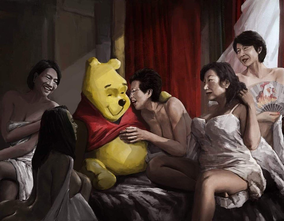 The best timely political caricature.  A modern masterpiece: Featuring Xi Jinping, Starry Lee, Elizabeth Quat, Carrie Lam, Teresa Cheng and Fanny Law (the one with the fan). Repost from @ChinaUncensored  #hongkongprotest #carrielam #winniethepooh #winniethepoohmemes #xijinpingpic.twitter.com/PDjgcsn5hW