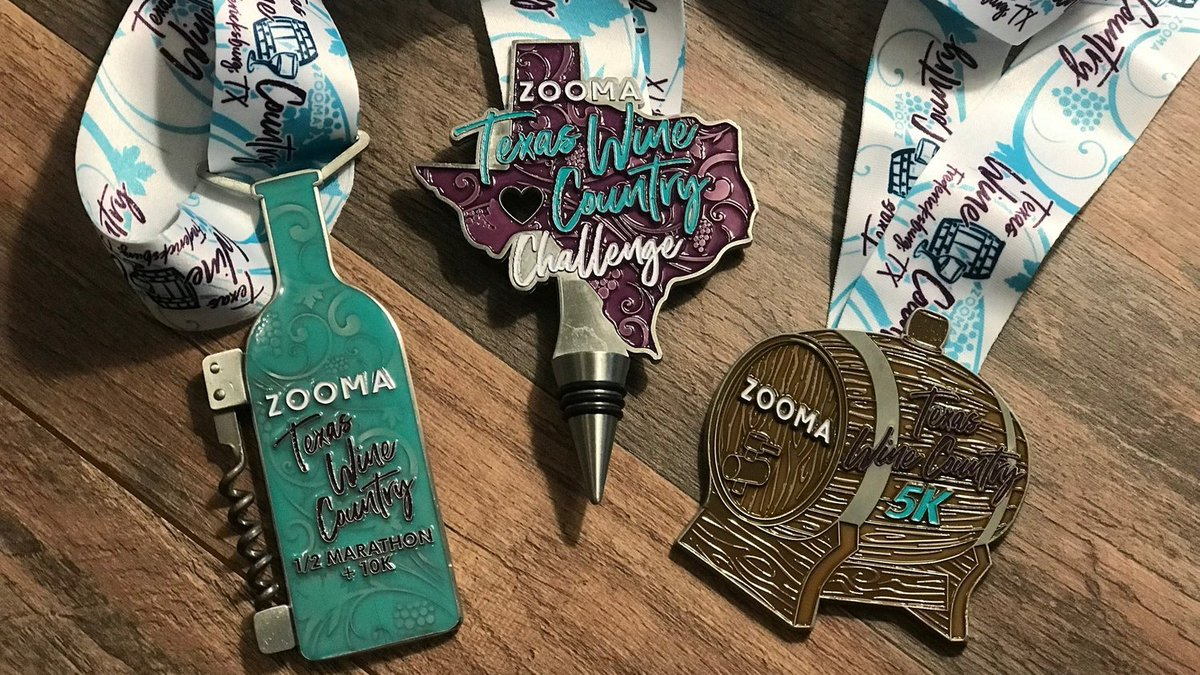 Happy race weekend to those running the @ZOOMArun Texas Wine Country series! What are YOU excited most about?! How about these MEDALS?!   #ZOOMABR #BibChat #BibRavePro<br>http://pic.twitter.com/NgcOCBGdhA