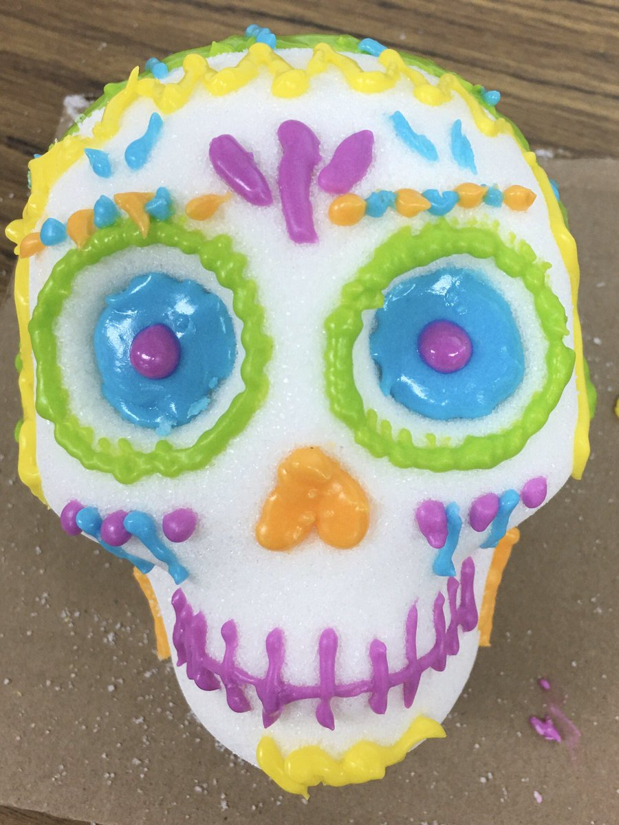 Making and decorating sugar skulls in Art class to celebrate Dia de Los Muertos #ourwhy