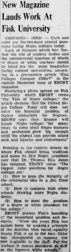 """Ebony magazine debuted on this day in 1945. Here's a newspaper clipping from our #ChronAm collections on the """"new"""" magazine. Visit the Library to read current & back issues, as well as any of the other thousands of magazines & journals in our collections. @EBONYMag #otdpic.twitter.com/9na2hyXalI"""