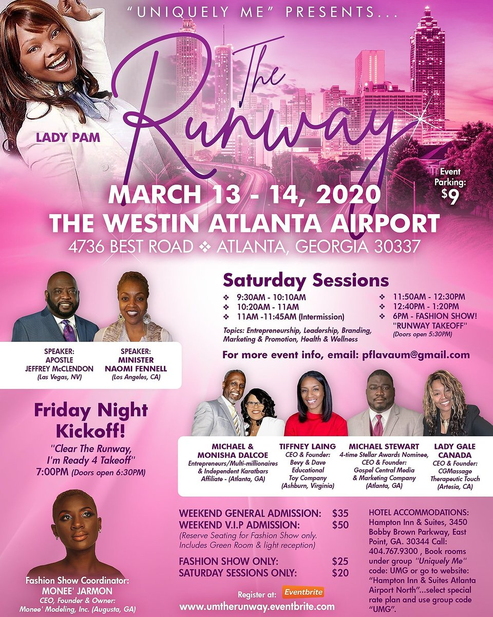 Ok Atlanta & All Surrounding Cities near & far. Don't wait Register Today 4 this Powerful, Awesome, Empowering Encounter it's gonna be Epic Space is Limited  #TheRunway #Empowering #Inspiring #Motovating  #Encouraging #Informative #Epic #UniquleyMe https://umtherunway.eventbrite.com pic.twitter.com/AW4DVVA6Jw