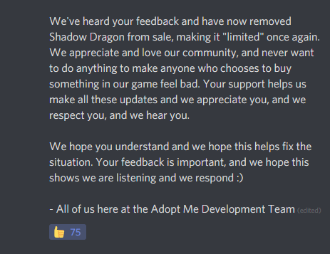 Adopt Me On Twitter We Listened To Your Feedback And The Shadow Dragon Is No Longer For Sale Our Full Statement In Images