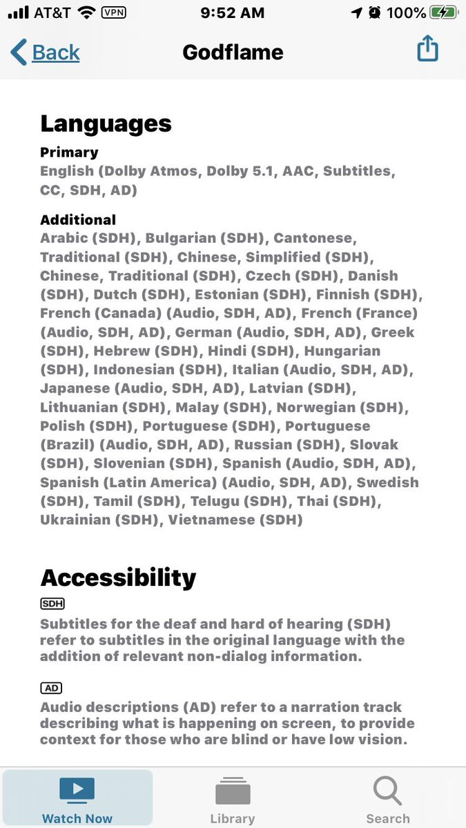 Dolby Atmos Audio Description tracks in 9 languages and braille-supported SDH captions in nearly 40 more languages?! Holy cow! The Apple TV+ team really knocked media accessibility out of the park. I seriously doubt any piece of media has ever been more accessible. Congrats!